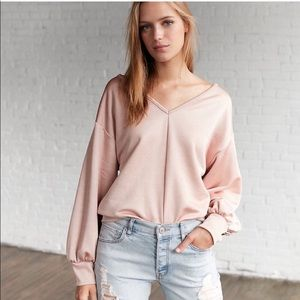 {Express} Satin Double V Sweatshirt (Blush)